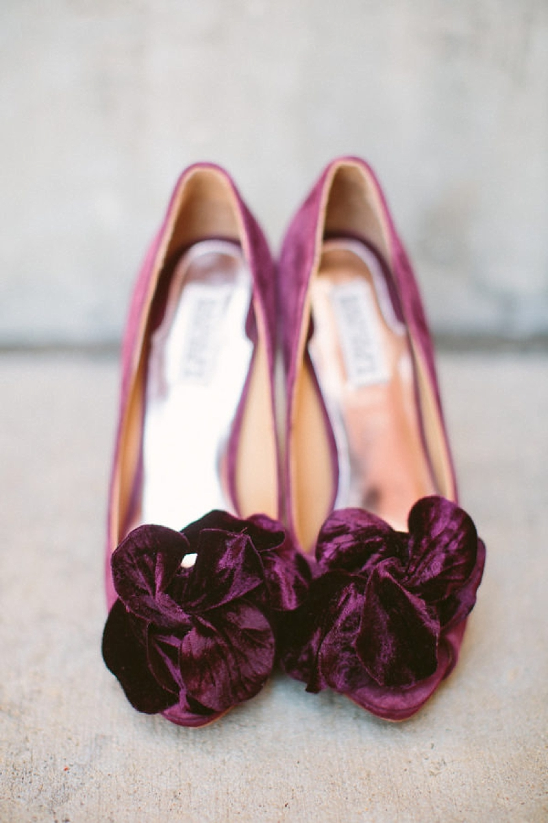 Dark plum purple velvet wedding shoes for classic fall wedding