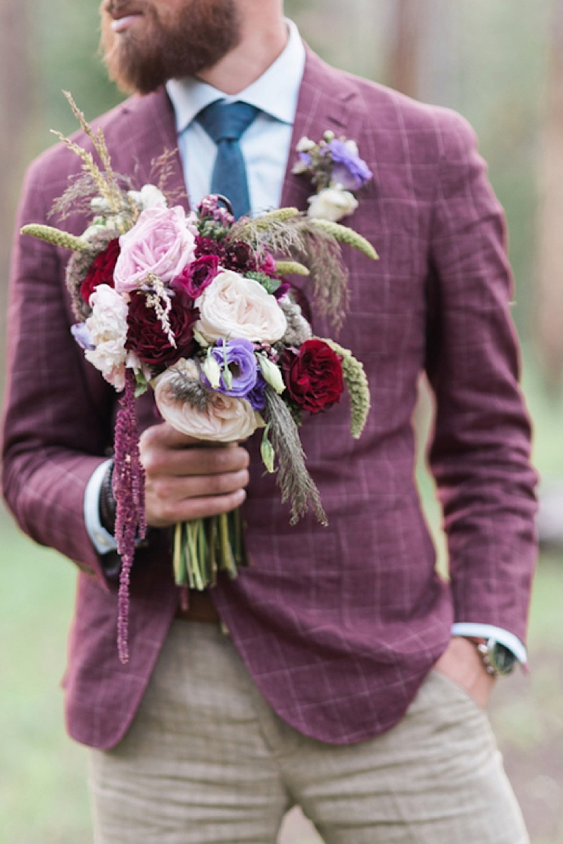 Handsome purple wedding suit jacket with plaid pattern