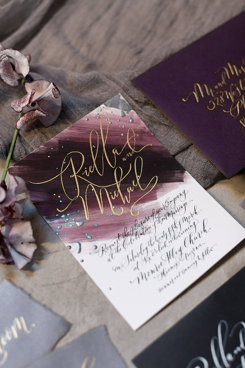 Dark purple hand painted wedding invitation suite with gold calligraphy for fall weddings