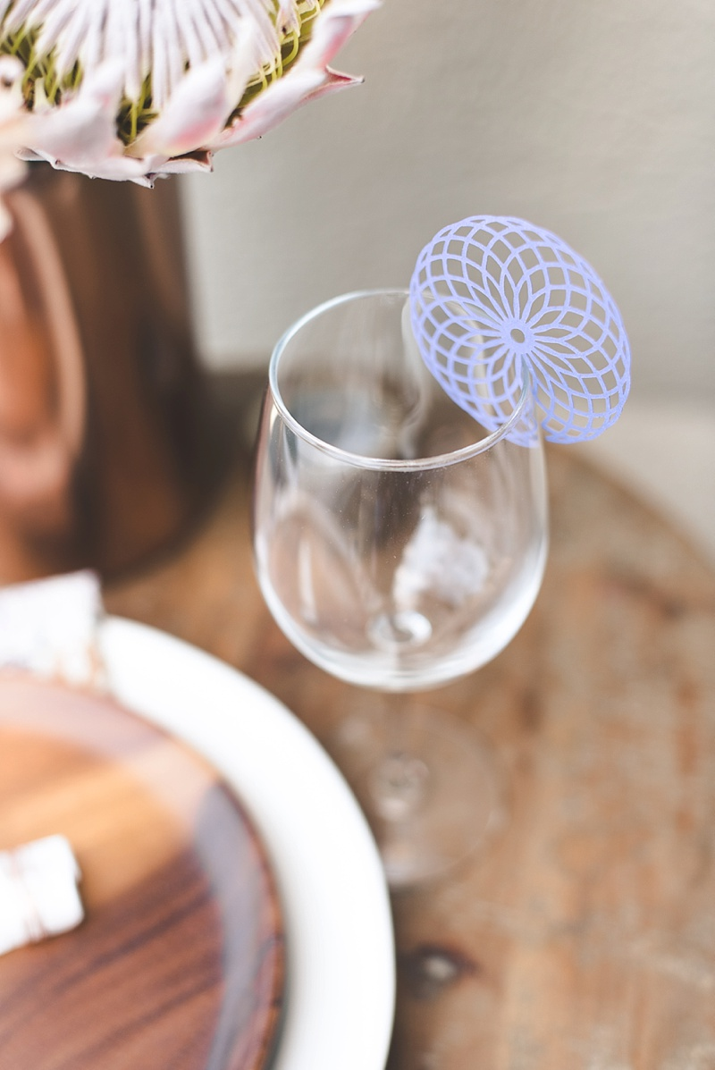 Chic purple paper wine glass charm