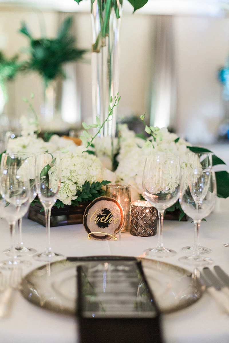 Agate slice table numbers for modern wedding ideas