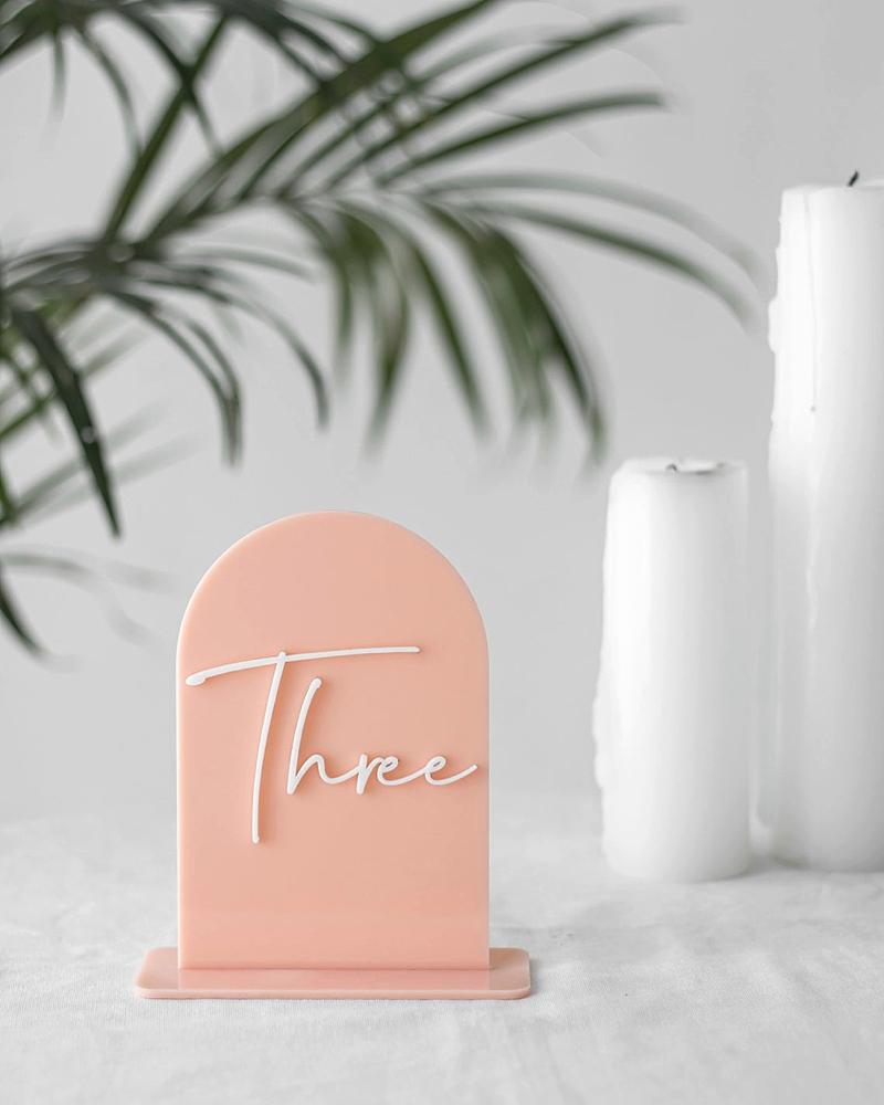 Pink boho dome shaped acrylic wedding table numbers