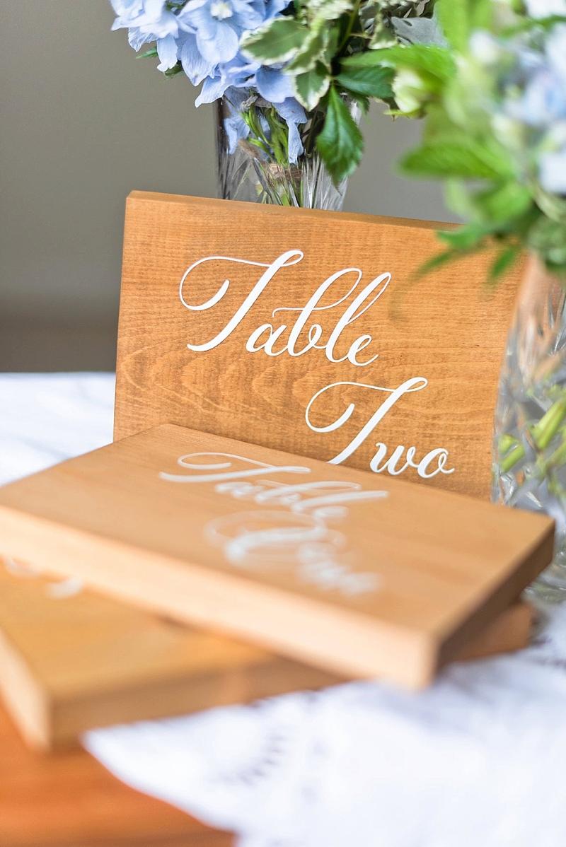 Classic rustic wood block wedding table numbers