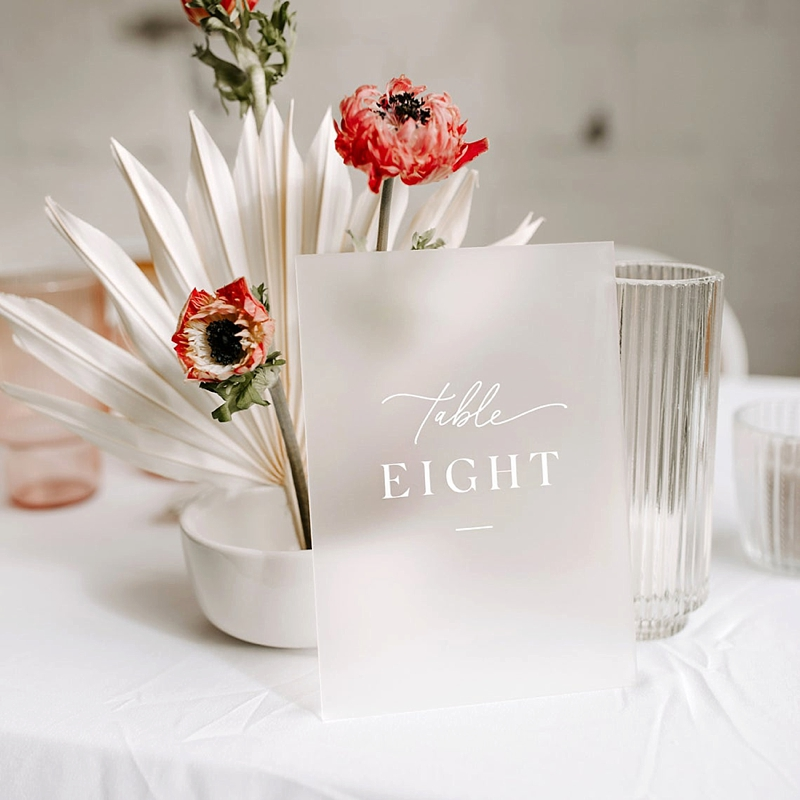 Frosted acrylic wedding table numbers for modern wedding style