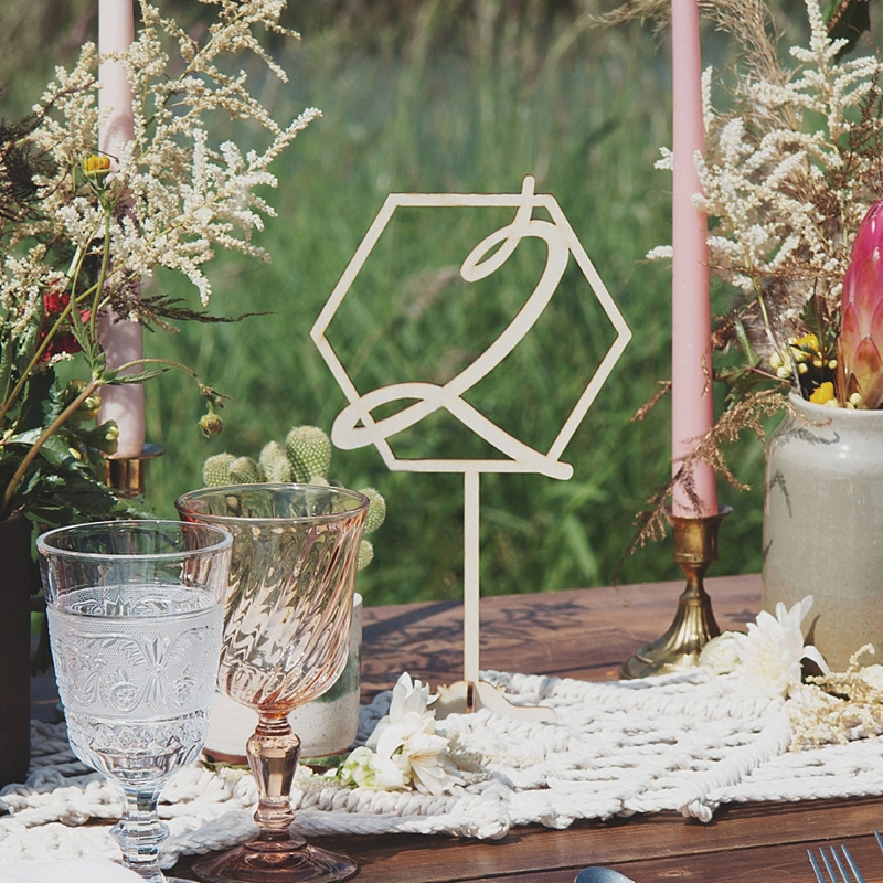 Geometric carved wedding table numbers for modern wedding