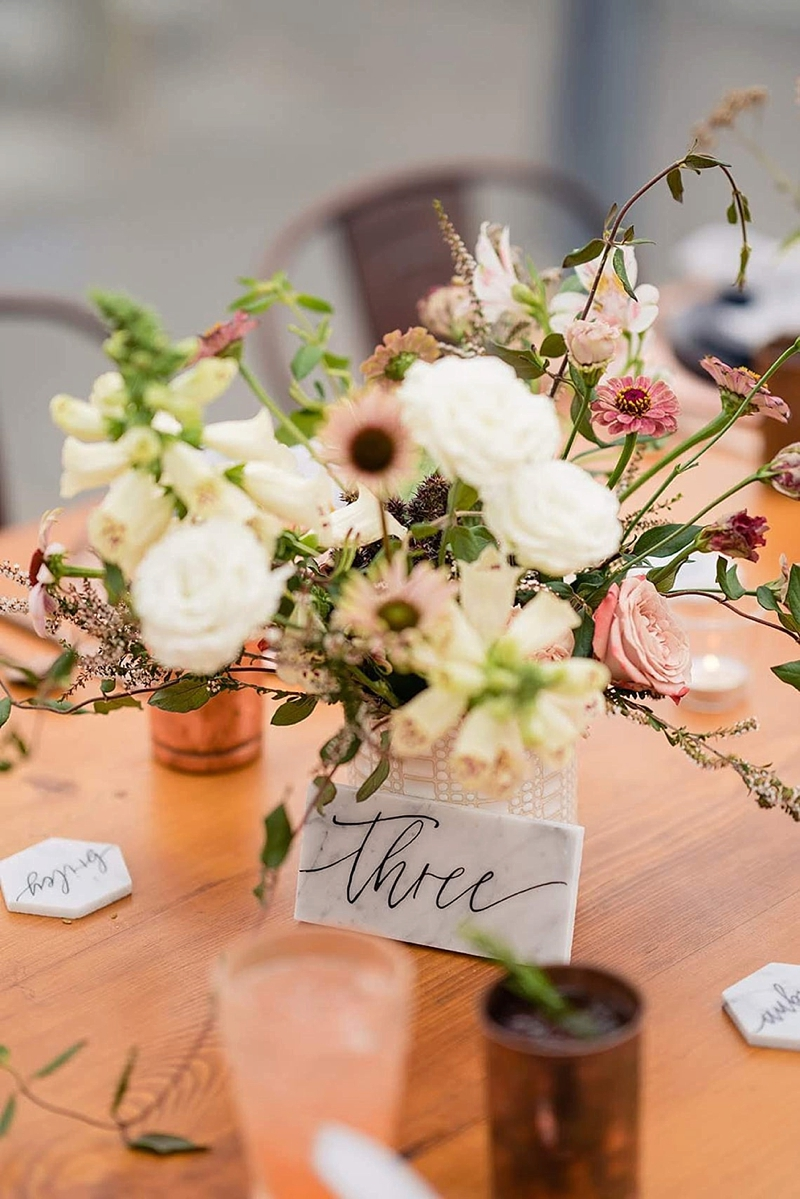 Marble slab table numbers for modern stylish wedding