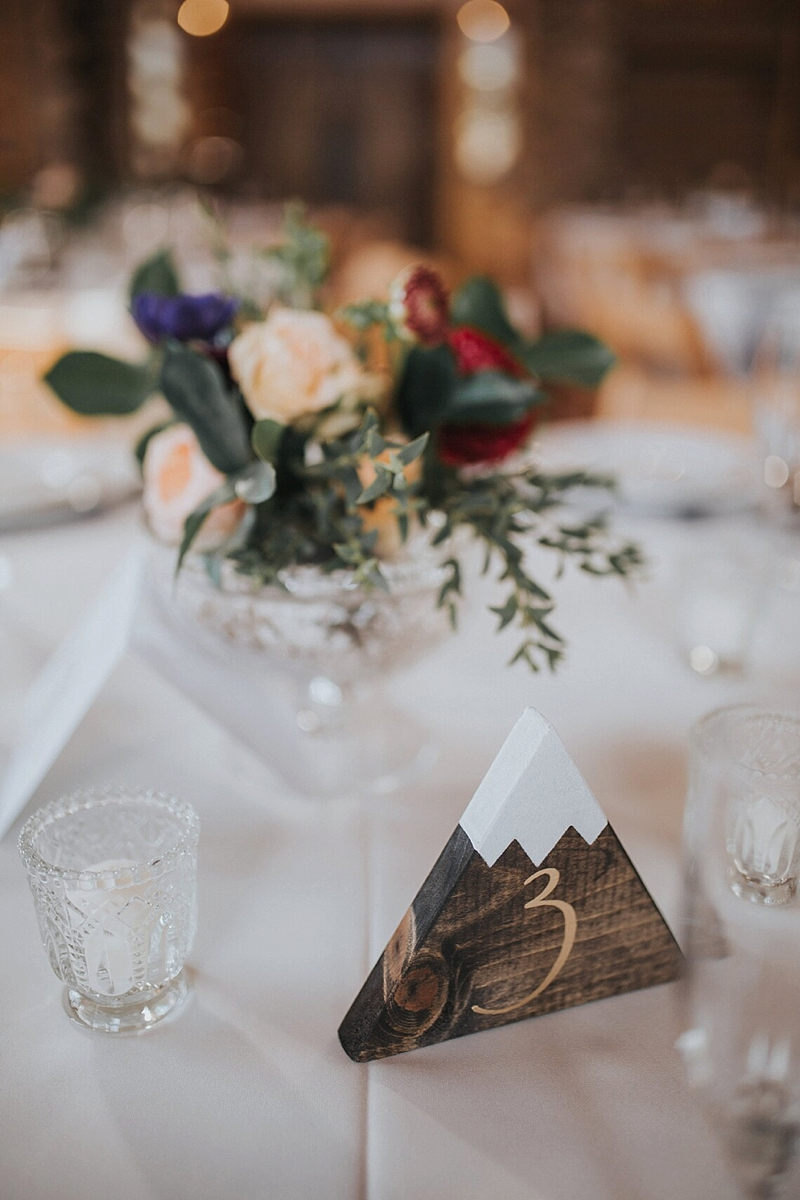 Wooden mountain shaped wedding table numbers