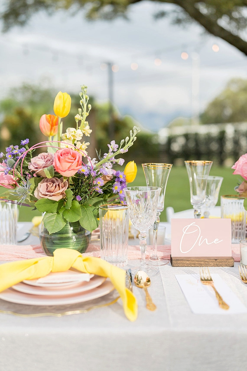 Pink painted acrylic wedding table for spring wedding ideas