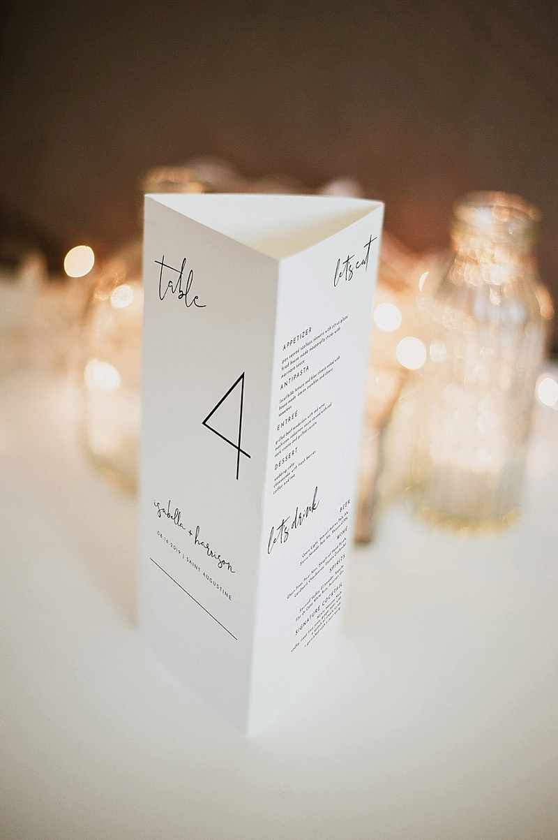 Trifold paper menu and table number for multipurpose modern wedding reception detail