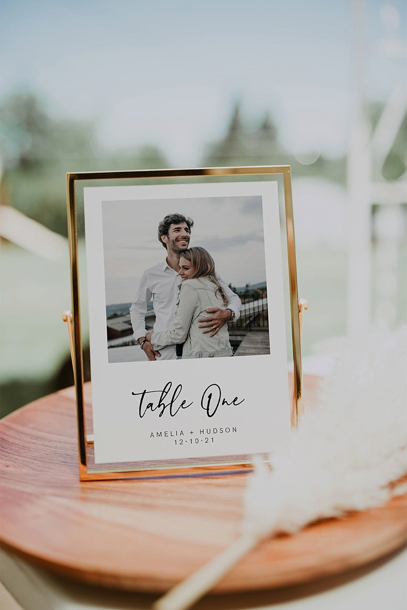 Printable wedding table numbers with personal photos