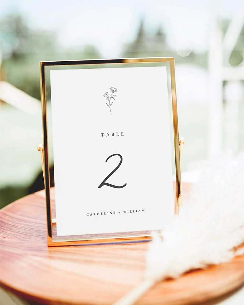Printable minimalist paper wedding table numbers with botanical illustration