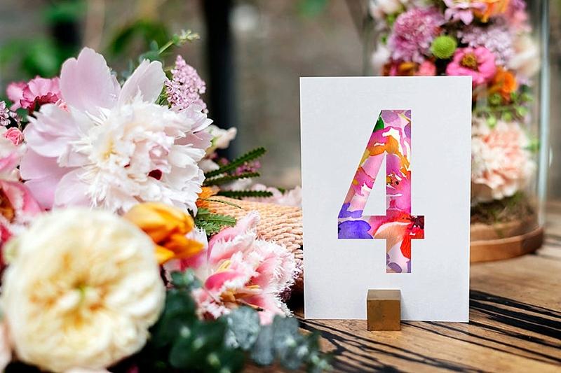 Printable tropical floral paper wedding table numbers