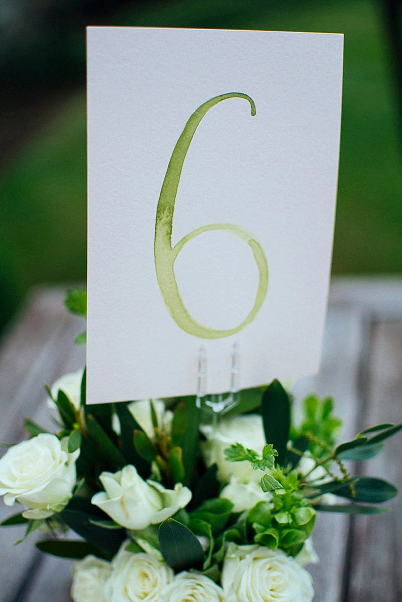 Simple watercolor wedding table numbers for easy wedding details
