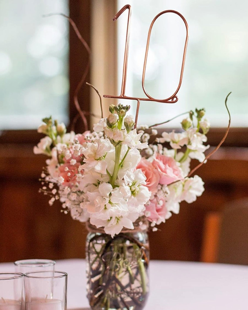 Wire shaped wedding table numbers for rustic barn wedding