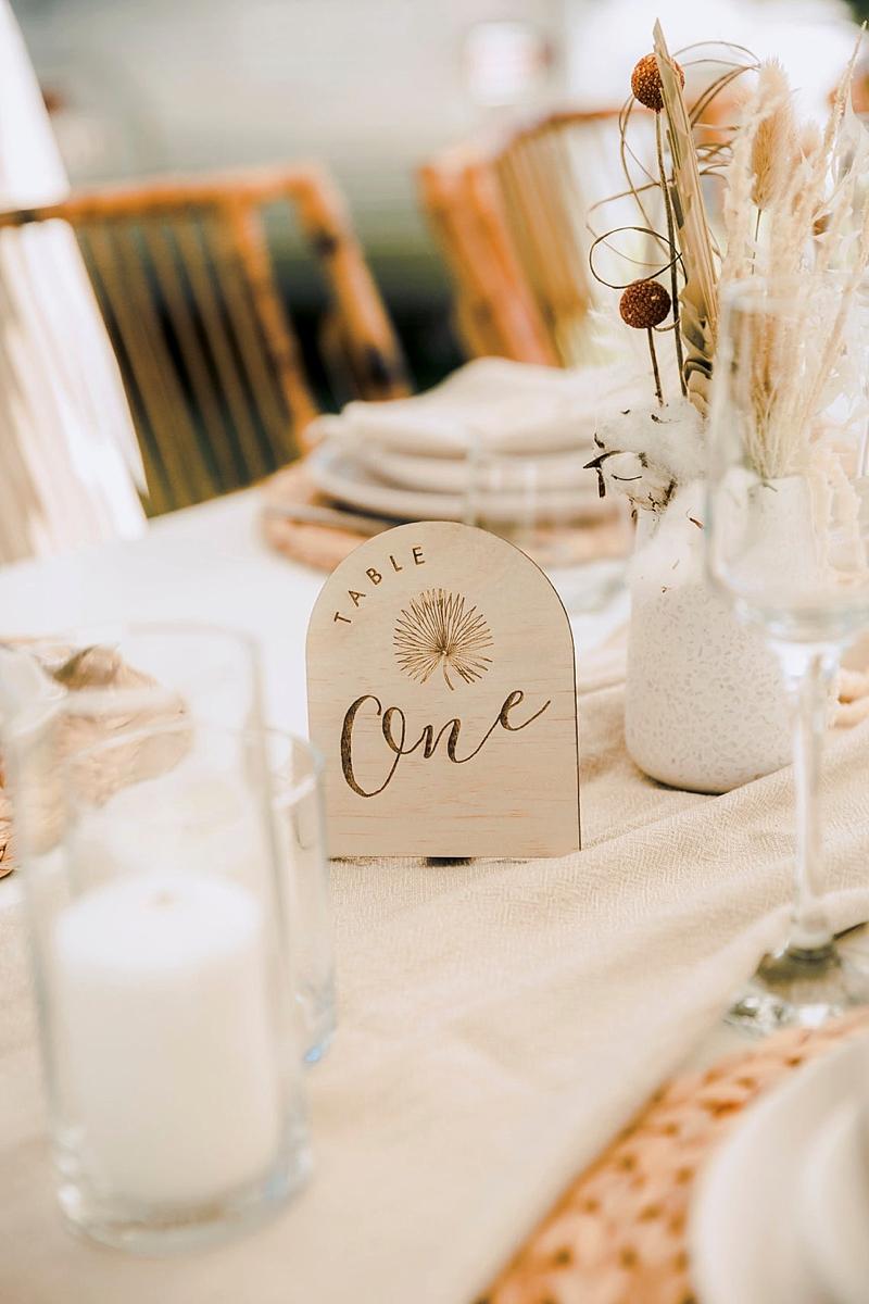 Wood boho dome shaped wedding table numbers for modern bohemian wedding