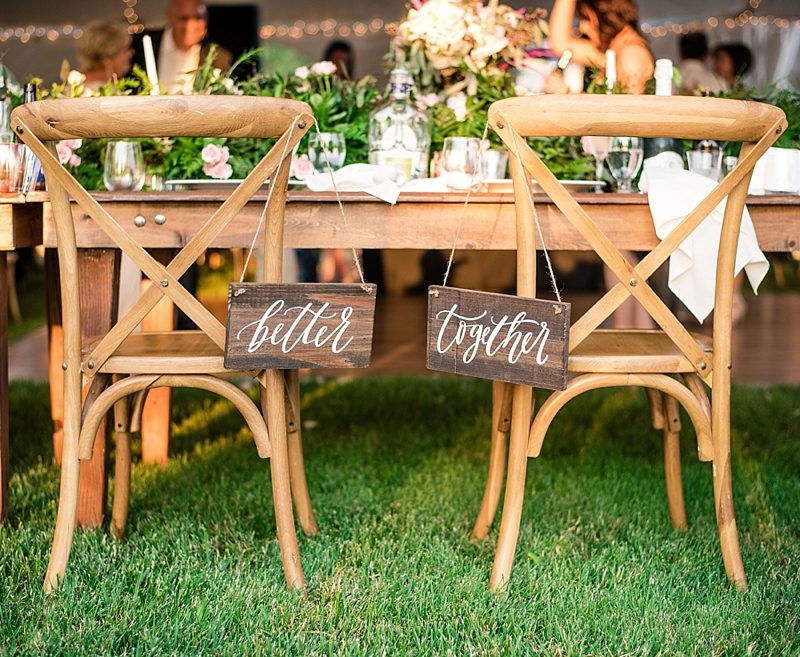 Stained wood Better Together wedding chair sign plaques for rustic wedding