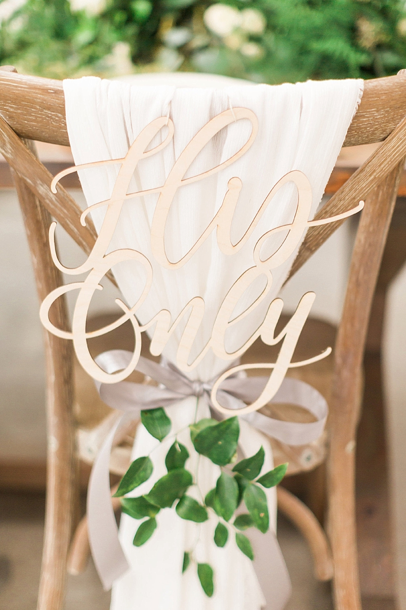 Wood calligraphy Her One and His Only wedding chair signs