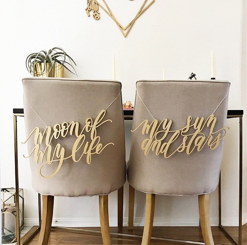 Wood calligraphy Moon of my Life and My Sun and Star Game of Thrones themed wedding chair signs
