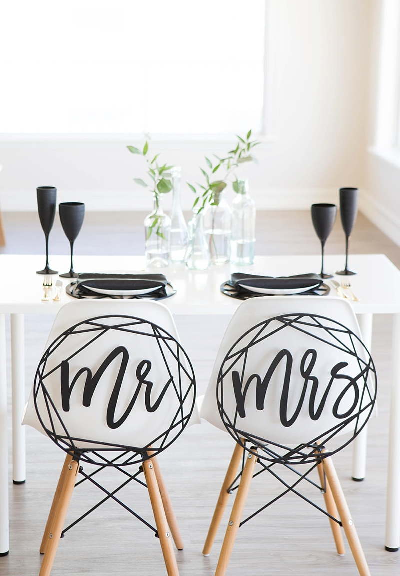 Wooden black round modern geometric Mr and Mrs wedding chair signs