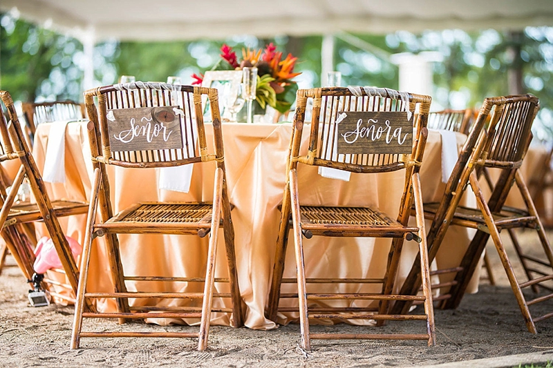 Spanish Senor or Senorita wedding chair sign plaques for rustic wedding