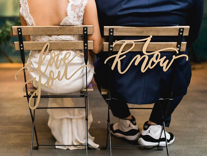 Calligraphy I Love You and I Know Star Wars themed wedding chair signs