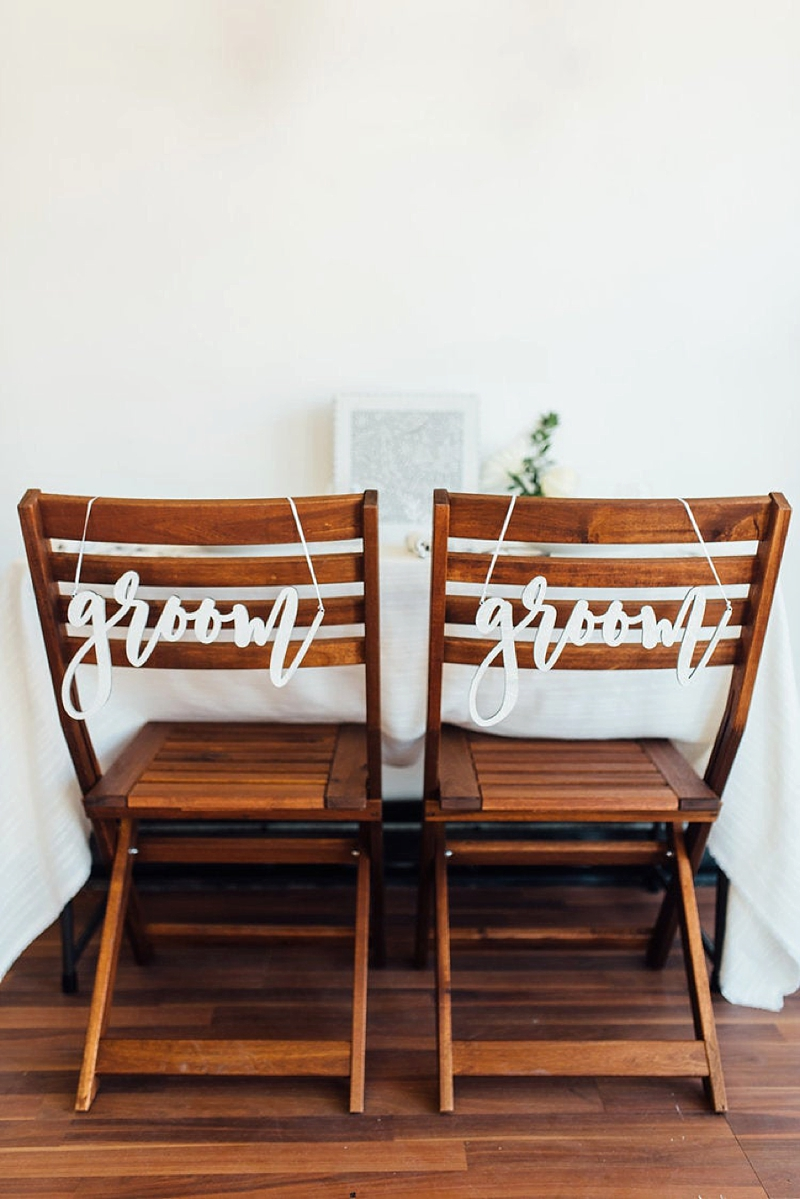 LGBTQ white wooden Groom and Groom wedding chair signs for gay wedding