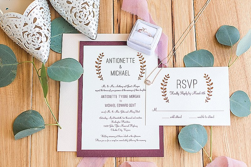 Rustic ivory wedding invitations for Virginia wedding