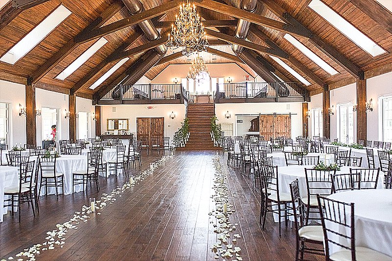 Beautiful rustic indoor wedding ceremony at Burlington Plantation in Charles City Virginia