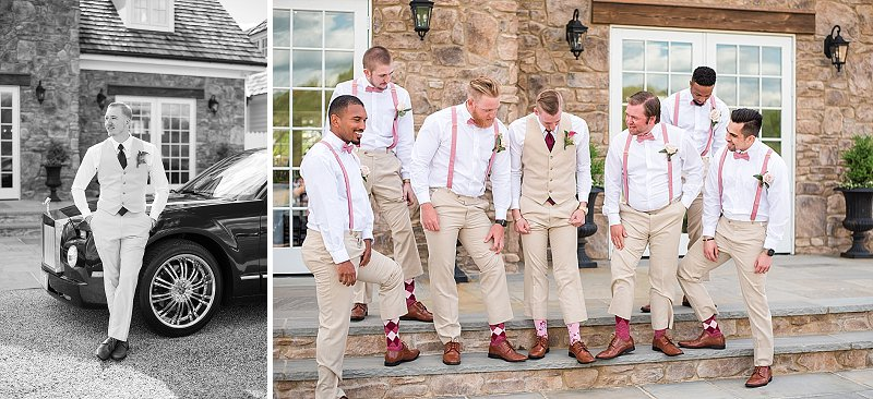 Groomsmen in tan suits and pink suspenders for rustic wedding style