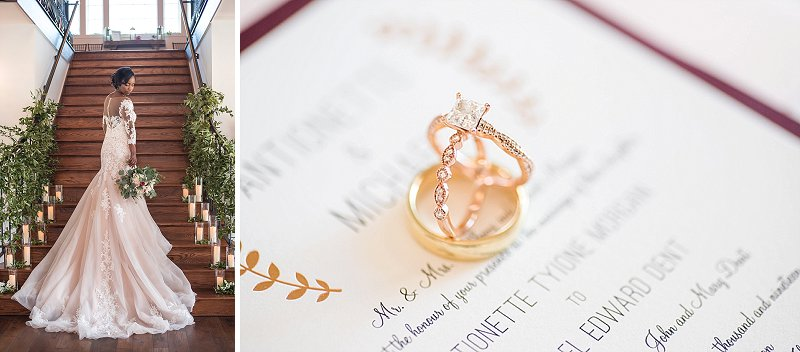 Gorgeous rose gold wedding rings for rustic wedding in Virginia
