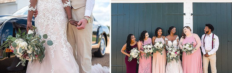 Bridesmaids in pink dresses and groomsmen in tan suits for rustic outdoor wedding in Virginia