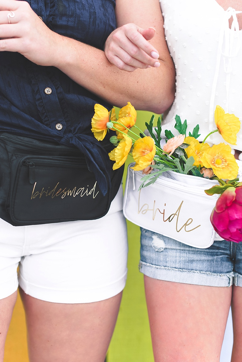 Chic and modern homemade bachelorette party fanny packs made with Cricut machine and gold foil iron on material