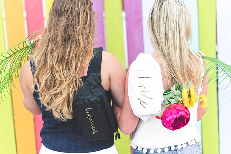 Personalized bachelorette party fanny packs for bride and bridesmaid