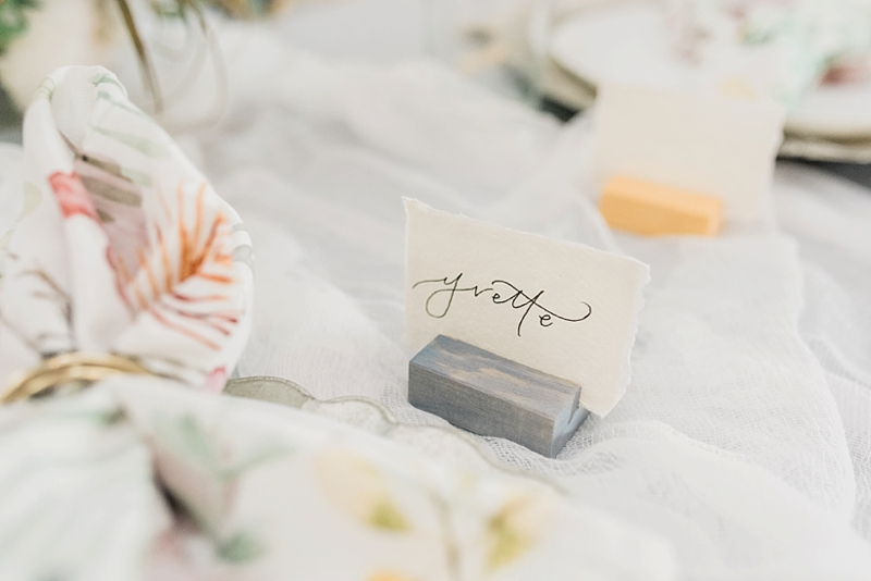 Romantic modern wedding or bridal shower wooden place card holders with a chambray blue color