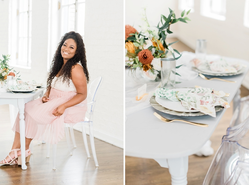 Gorgeous bride to be at the Historic Post Office for a romantic modern styled bridal shower table idea