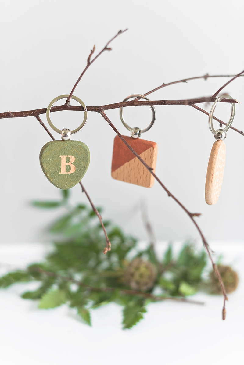 Wood keychains for unique rustic wedding favors using DecoArt suede paint
