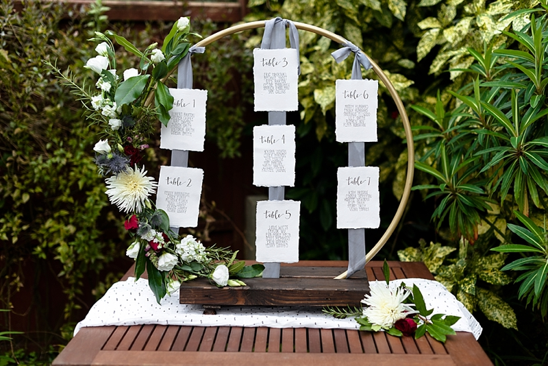 DIY hula hoop wedding seating chart with Rustoleum spray paint