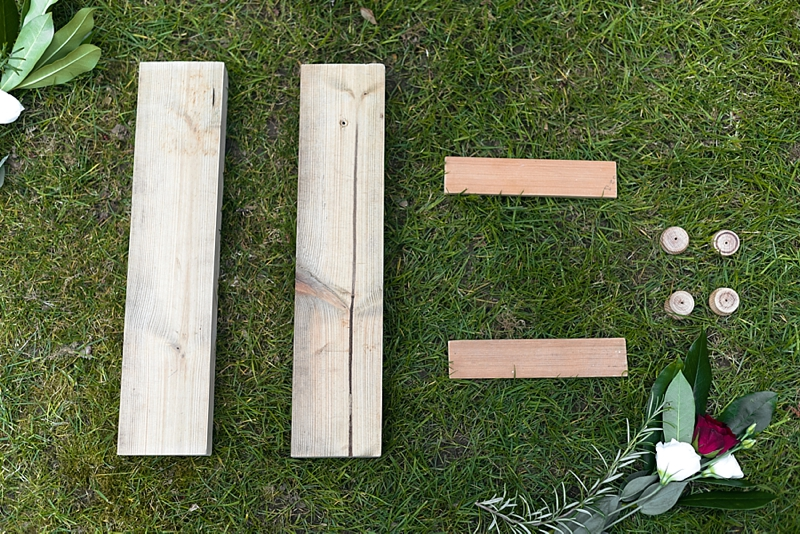 Using wood blocks and Varathane wood stain to build a unique wedding seating chart