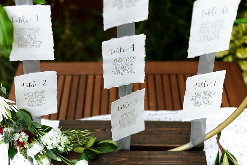 Gold hula hoop wedding seating chart made with Rustoleum spray paint and Varathane wood stain for DIY wedding decor idea