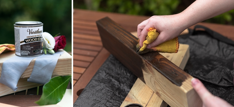 Wood stain techniques for using Varathane Kona wood stain on wedding DIY projects