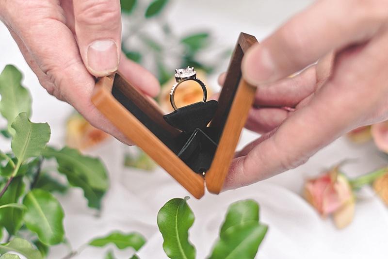 Beautiful wood wedding engagement ring box by Woodsbury