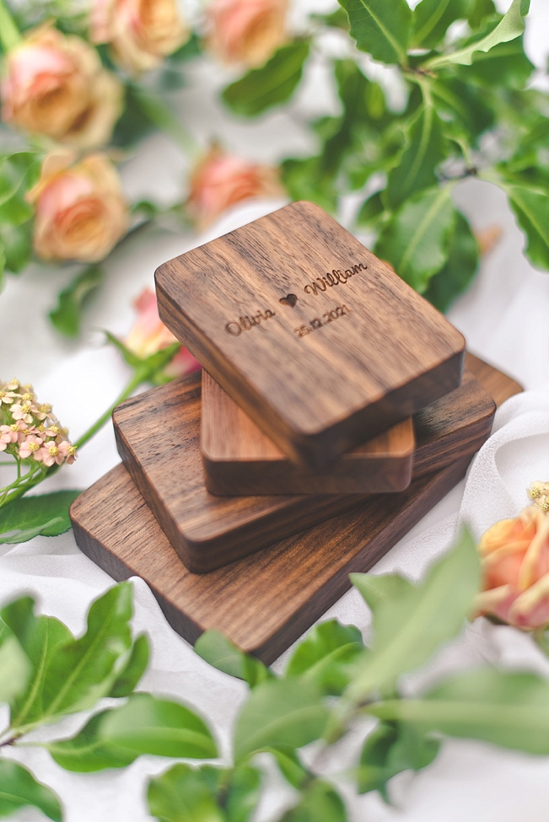 Heirloom personalized and engraved wood wedding engagement ring boxes by Woodsbury