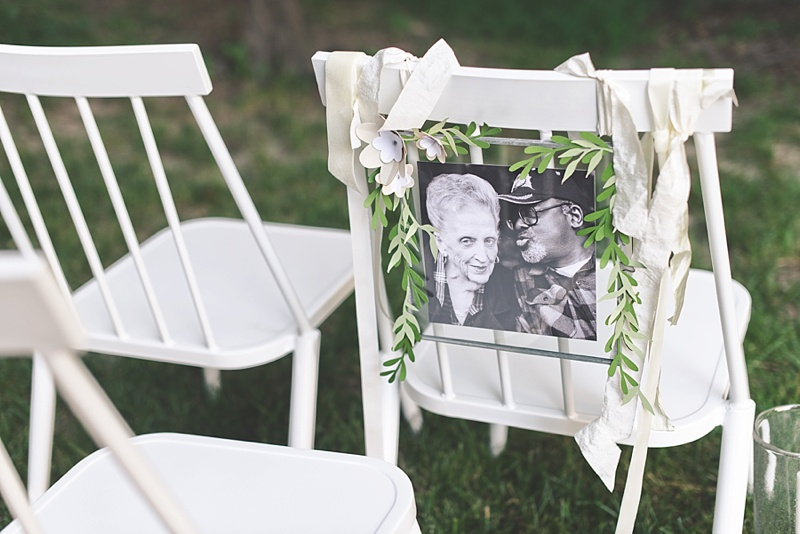 Sweet and beautiful In Loving Memory memorial chair photo frame with paper greenery and silk ribbon
