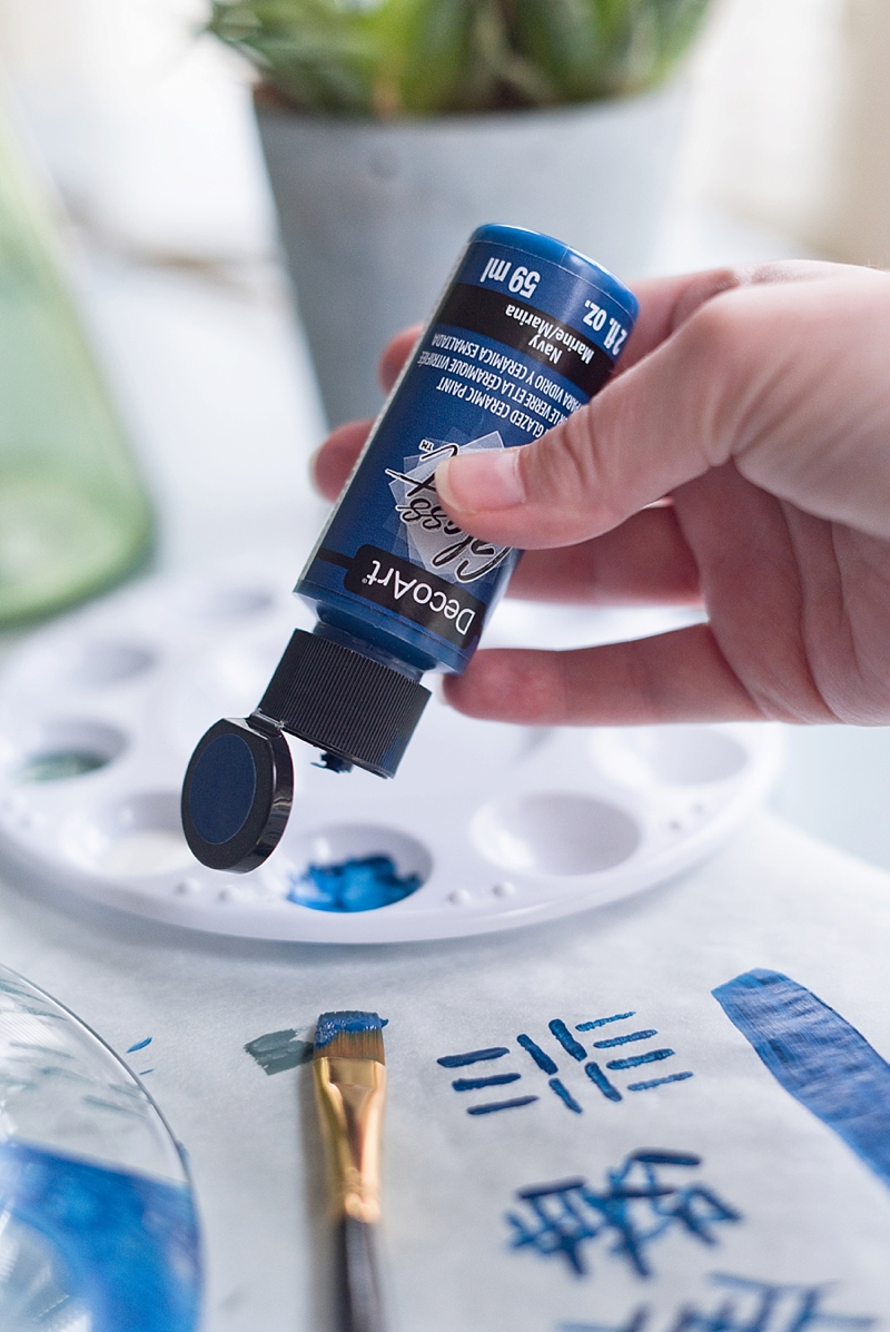 DecoArt glass paint in Navy for unique wedding DIY project