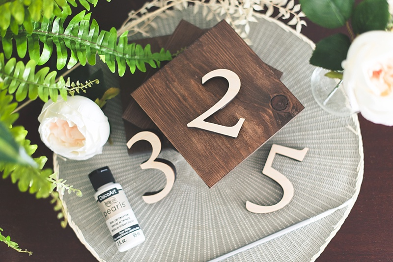 How to paint on wood table numbers with DecoArt Pearls paint