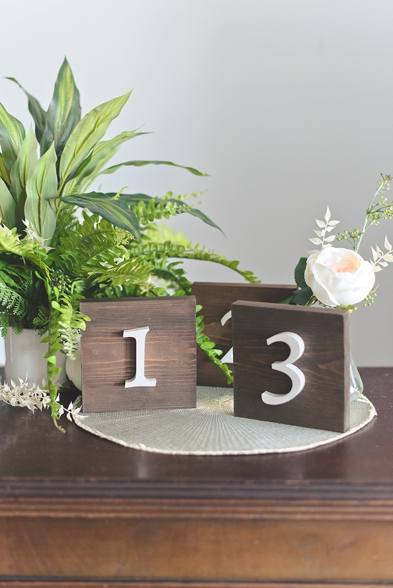 Wood table numbers for unique vintage rustic wedding decor using DecoArt Americana Pearls paint