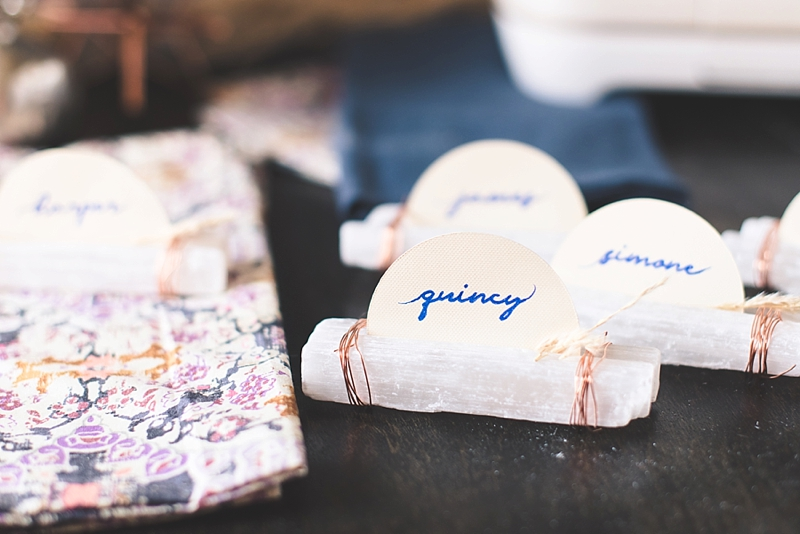 Unique boho wedding place cards using selenite crystals and paper rounds with your Cricut machine