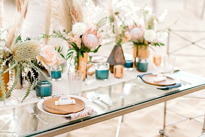 Wildly elegant boho wedding reception ideas with selenite crystal place cards