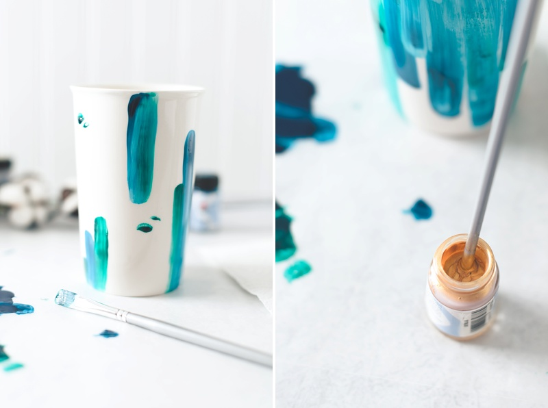 Tips for using porcelain paint to DIY your own wedding travel mugs from Kate Aspen