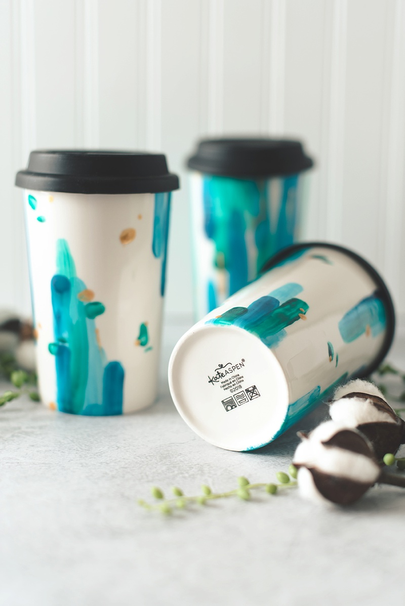 How to paint beautiful travel mugs for your wedding party with porcelain paint